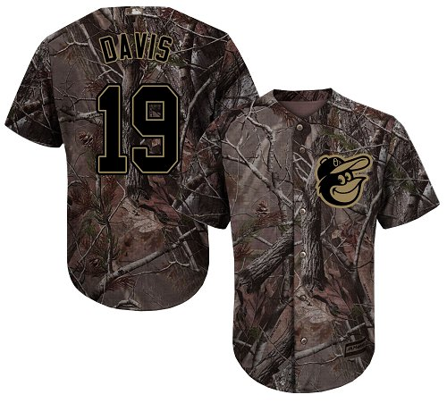 Orioles #19 Chris Davis Camo Realtree Collection Cool Base Stitched Youth MLB Jersey