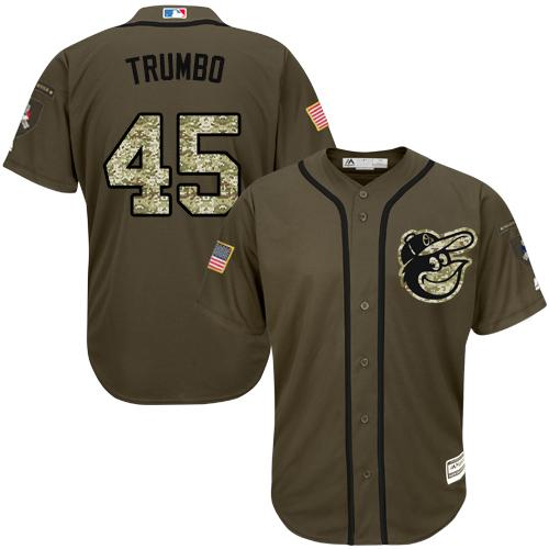 Orioles #45 Mark Trumbo Green Salute to Service Stitched Youth MLB Jersey