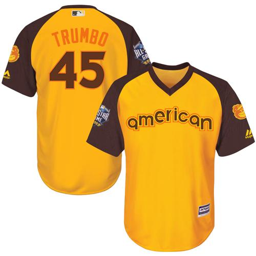 Orioles #45 Mark Trumbo Gold 2016 All-Star American League Stitched Youth MLB Jersey