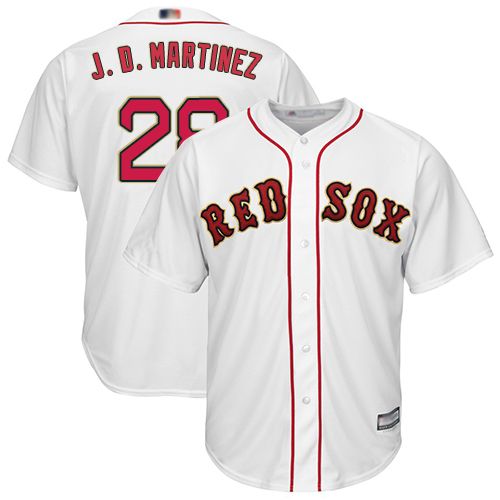 Red Sox #28 J. D. Martinez White 2019 Gold Program Cool Base Stitched Youth MLB Jersey
