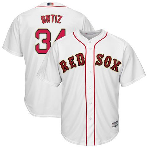 Red Sox #34 David Ortiz White 2019 Gold Program Cool Base Stitched Youth MLB Jersey