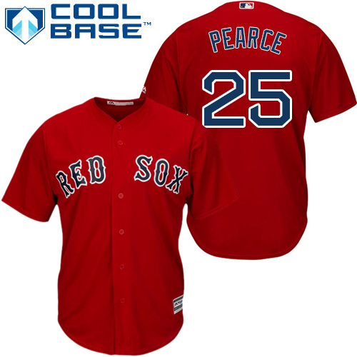 Red Sox #25 Steve Pearce Red Cool Base Stitched Youth MLB Jersey