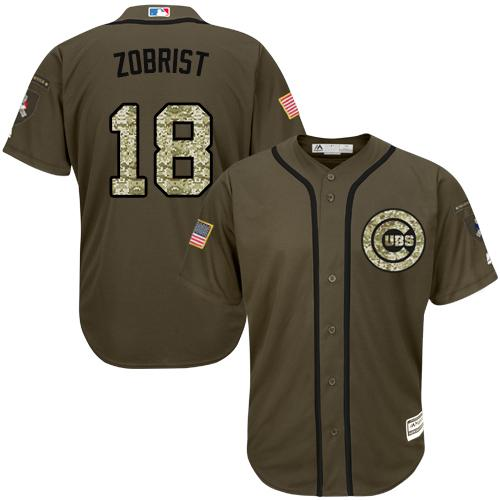 Cubs #18 Ben Zobrist Green Salute to Service Stitched Youth MLB Jersey