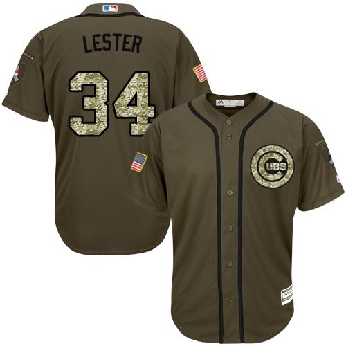 Cubs #34 Jon Lester Green Salute to Service Stitched Youth MLB Jersey