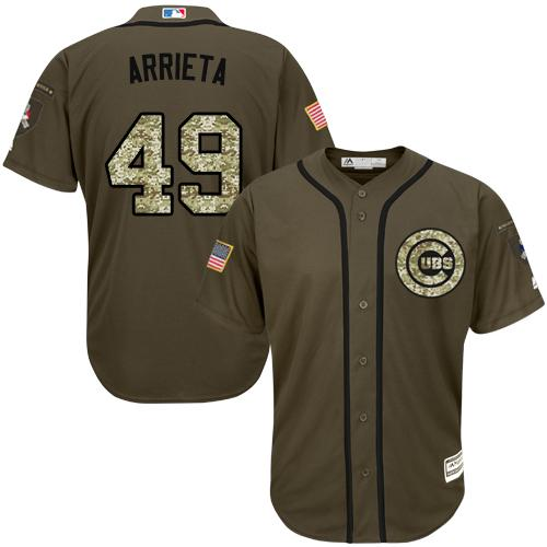 Cubs #49 Jake Arrieta Green Salute to Service Stitched Youth MLB Jersey
