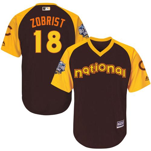 Cubs #18 Ben Zobrist Brown 2016 All-Star National League Stitched Youth MLB Jersey