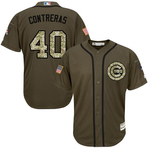 Cubs #40 Willson Contreras Green Salute to Service Stitched Youth MLB Jersey