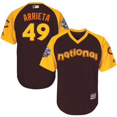 Cubs #49 Jake Arrieta Brown 2016 All-Star National League Stitched Youth MLB Jersey