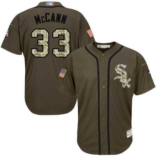 White Sox #33 James McCann Green Salute to Service Stitched Youth MLB Jersey