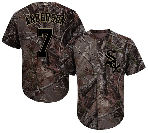 White Sox #7 Tim Anderson Camo Realtree Collection Cool Base Stitched Youth MLB Jersey