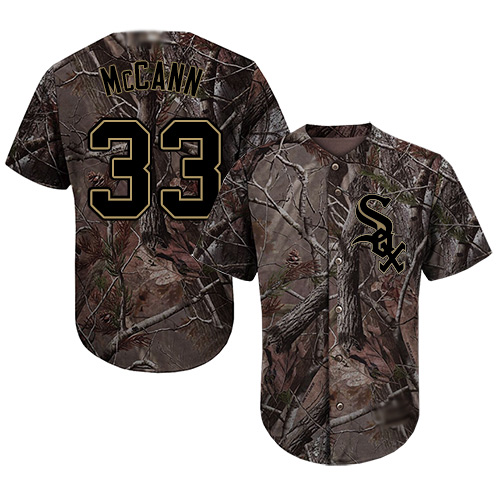 White Sox #33 James McCann Camo Realtree Collection Cool Base Stitched Youth MLB Jersey