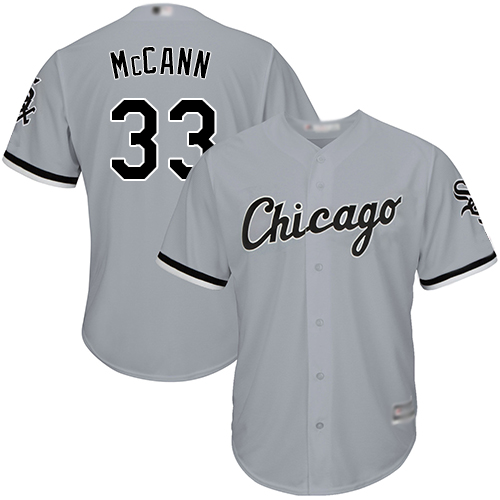 White Sox #33 James McCann Grey Road Cool Base Stitched Youth MLB Jersey
