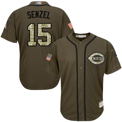 Reds #15 Nick Senzel Green Salute to Service Stitched Youth MLB Jersey