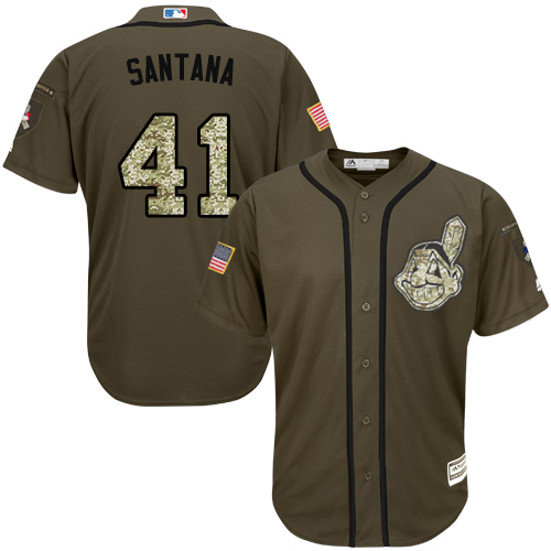 Indians #41 Carlos Santana Green Salute to Service Stitched Youth MLB Jersey