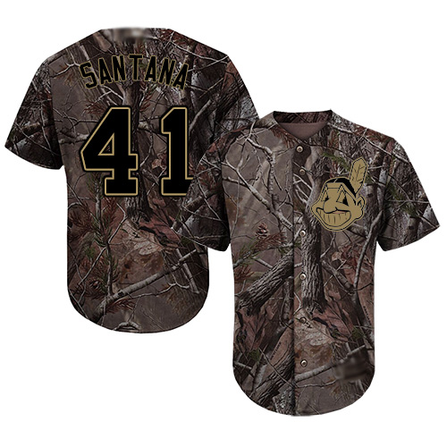 Indians #41 Carlos Santana Camo Realtree Collection Cool Base Stitched Youth MLB Jersey