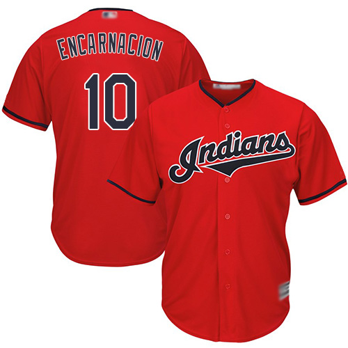 Indians #10 Edwin Encarnacion Red Stitched Youth MLB Jersey