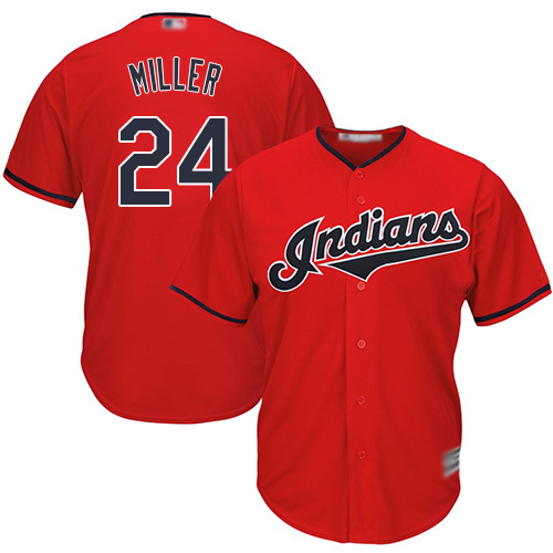 Indians #24 Andrew Miller Red Stitched Youth MLB Jersey