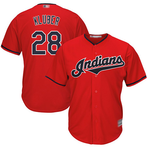Indians #28 Corey Kluber Red Stitched Youth MLB Jersey