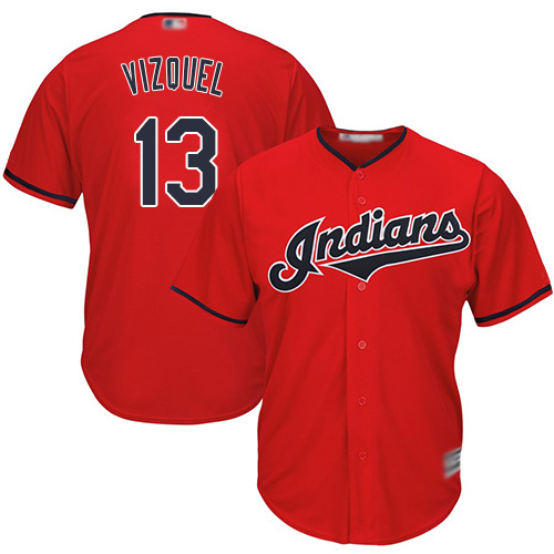Indians #13 Omar Vizquel Red Stitched Youth MLB Jersey