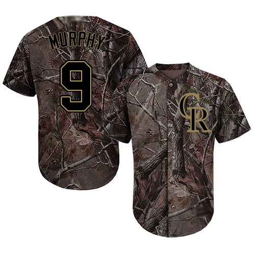 Rockies #9 Daniel Murphy Camo Realtree Collection Cool Base Stitched Youth MLB Jersey