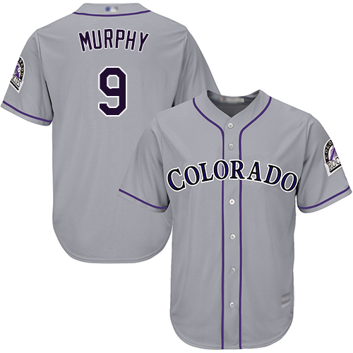 Rockies #9 Daniel Murphy Grey Cool Base Stitched Youth MLB Jersey