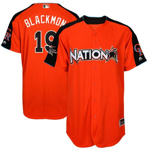 Rockies #19 Charlie Blackmon Orange 2017 All-Star National League Stitched Youth MLB Jersey
