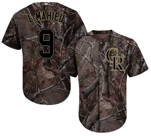 Rockies #9 DJ LeMahieu Camo Realtree Collection Cool Base Stitched Youth MLB Jersey