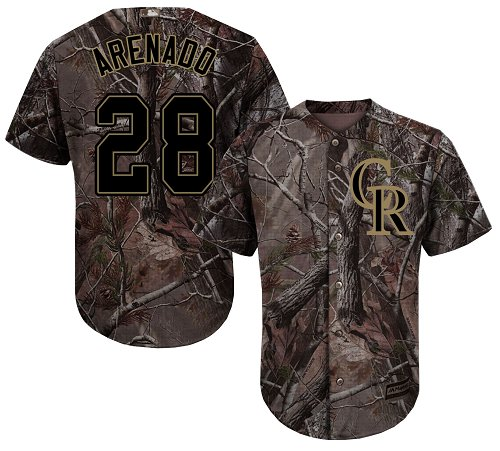 Rockies #28 Nolan Arenado Camo Realtree Collection Cool Base Stitched Youth MLB Jersey