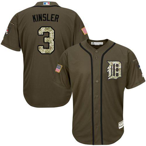 Tigers #3 Ian Kinsler Green Salute to Service Stitched Youth MLB Jersey