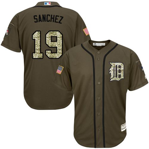 Tigers #19 Anibal Sanchez Green Salute to Service Stitched Youth MLB Jersey