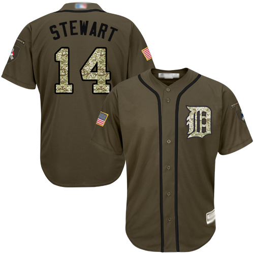 Tigers #14 Christin Stewart Green Salute to Service Stitched Youth MLB Jersey