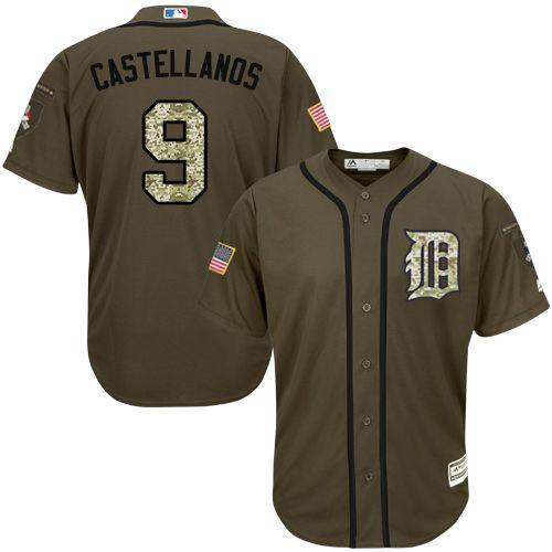Tigers #9 Nick Castellanos Green Salute to Service Stitched Youth MLB Jersey