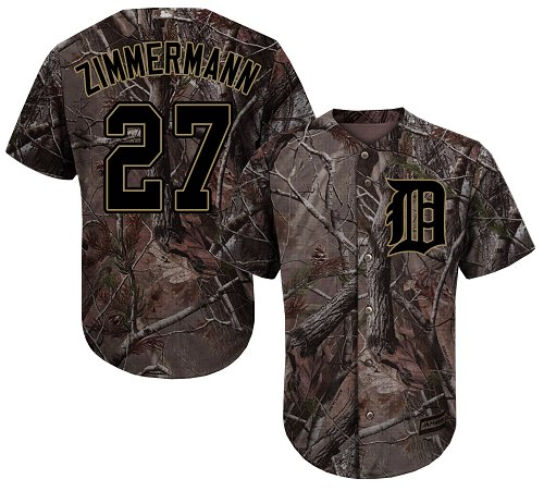 Tigers #27 Jordan Zimmermann Camo Realtree Collection Cool Base Stitched Youth MLB Jersey