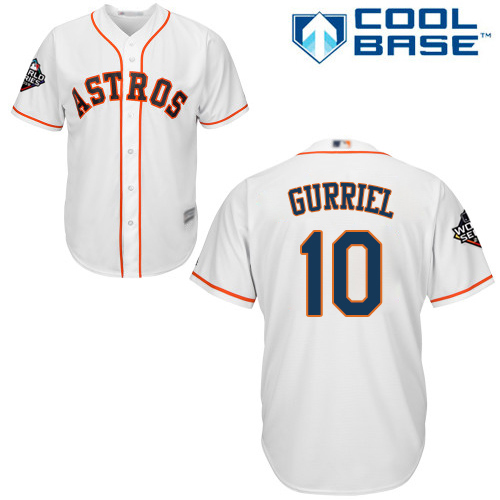 Astros #10 Yuli Gurriel White Cool Base 2019 World Series Bound Stitched Youth MLB Jersey