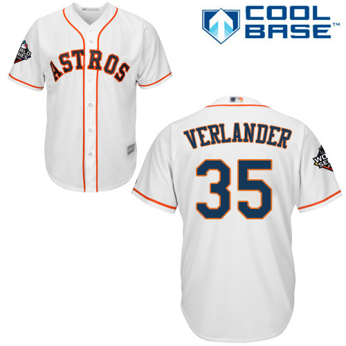 Astros #35 Justin Verlander White Cool Base 2019 World Series Bound Stitched Youth MLB Jersey