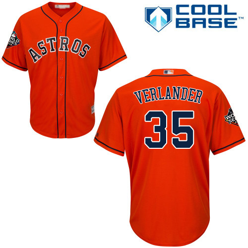 Astros #35 Justin Verlander Orange Cool Base 2019 World Series Bound Stitched Youth MLB Jersey