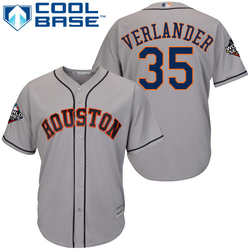 Astros #35 Justin Verlander Grey Cool Base 2019 World Series Bound Stitched Youth MLB Jersey