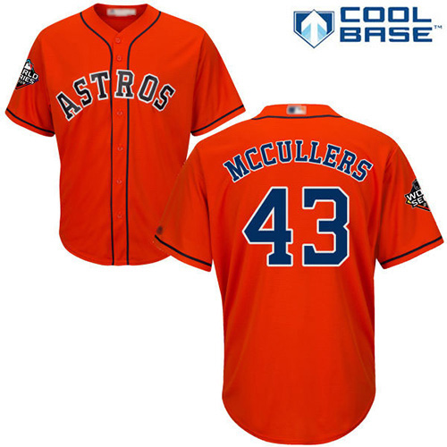 Astros #43 Lance McCullers Orange Cool Base 2019 World Series Bound Stitched Youth MLB Jersey