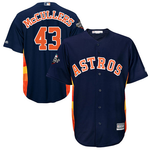 Astros #43 Lance McCullers Navy Blue Cool Base 2019 World Series Bound Stitched Youth MLB Jersey