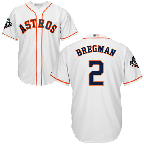Astros #2 Alex Bregman White Cool Base 2019 World Series Bound Stitched Youth MLB Jersey