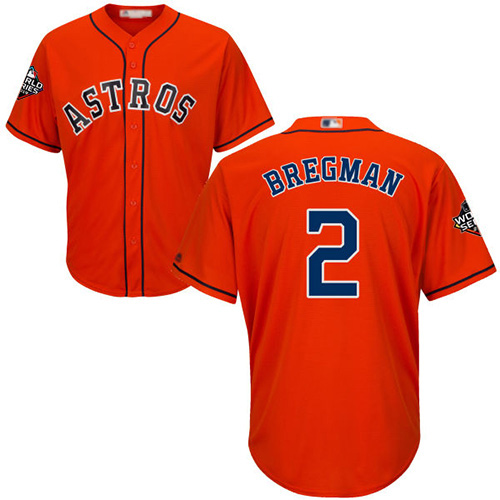 Astros #2 Alex Bregman Orange Cool Base 2019 World Series Bound Stitched Youth MLB Jersey