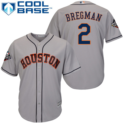 Astros #2 Alex Bregman Grey Cool Base 2019 World Series Bound Stitched Youth MLB Jersey