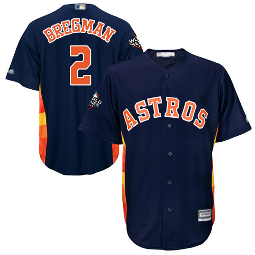 Astros #2 Alex Bregman Navy Blue Cool Base 2019 World Series Bound Stitched Youth MLB Jersey