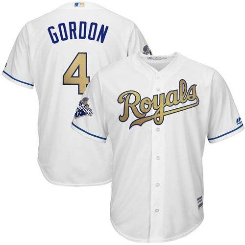 Royals #4 Alex Gordon White 2015 World Series Champions Gold Program Cool Base Stitched Youth MLB Jersey