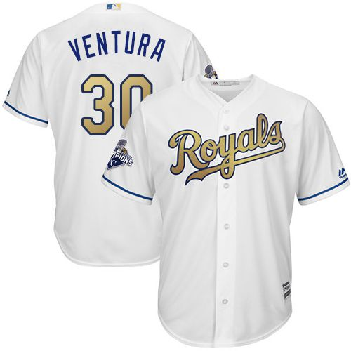 Royals #30 Yordano Ventura White 2015 World Series Champions Gold Program Cool Base Stitched Youth MLB Jersey
