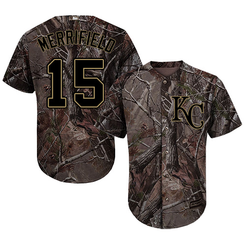 Royals #15 Whit Merrifield Camo Realtree Collection Cool Base Stitched Youth MLB Jersey