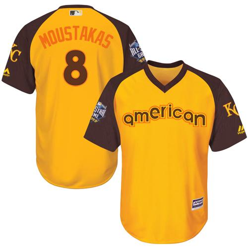 Royals #8 Mike Moustakas Gold 2016 All-Star American League Stitched Youth MLB Jersey