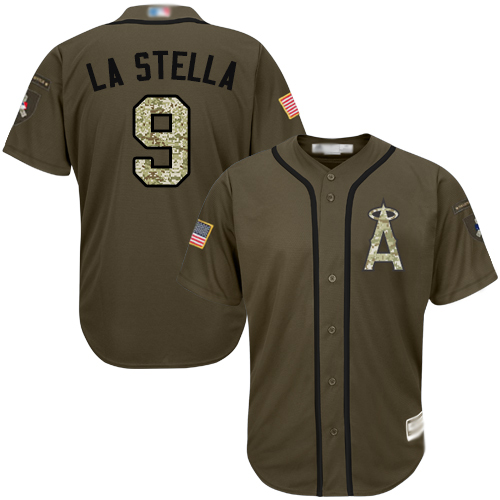 Angels #9 Tommy La Stella Green Salute to Service Stitched Youth MLB Jersey