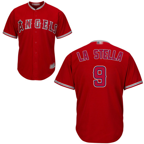 Angels #9 Tommy La Stella Red Cool Base Stitched Youth MLB Jersey