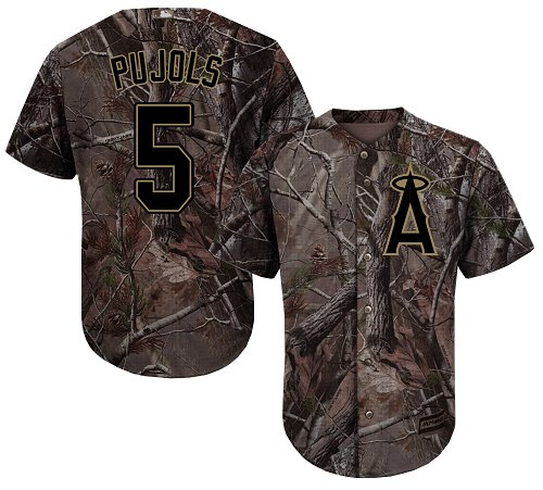 Angels #5 Albert Pujols Camo Realtree Collection Cool Base Stitched Youth MLB Jersey